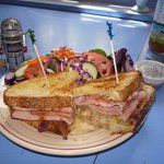 Smoked ham and brie led onions and green apples on Italian sourdough bread & winter salad.