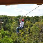 The first zip from the tower