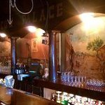 The mural behind the bar