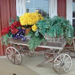 Beautiful wagon on the front porch