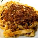 home made pasta and Bolognese meat sauce