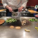 Teppanyaki chef in action