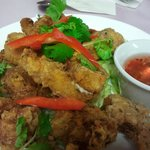 Deep fried chicken with lime leaves