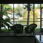  View of lanai and canal from living room