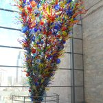 Large Dale Chihuly glass piece on the east side of the museum's ConAgra Foods Atrium.