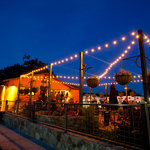 The Velo Vino patio at night