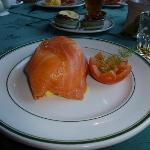 Smoked salmon and scrambled eggs.