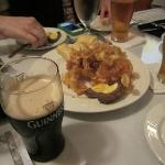 Our appetizers: chips, scotch eggs and beer!