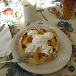 Waffle with Peaches and Whipped Topping