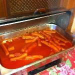 This was Breakfast?Whole Hot Dogs with Onions in Tomato Sauce,next day was better,Chopped Hot Do
