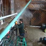 Checking the syrup in the evaporator