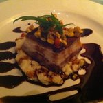 Pork belly over grits with homemade Worcestershire sauce. Outstanding!