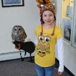 Hunter Our  Barred Owl with one of our Student Bird Handlers!