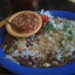  delicious green enchiladas, fideos, and refried beans