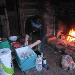 Making chili on the outside fireplace!