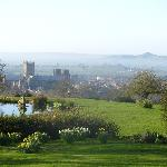  The view from the side yard, with Wells Cathedral and Glastonbury Tor