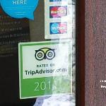 Main Door - last year TripAdvisor sticker