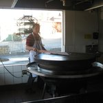 Mongolian BBQ station in action