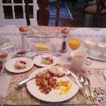 One of her famous breakfasts. How lovely!