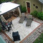  Backyard furniture and covered seating area as seen from upstairs porch