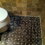 Check out that awesome tile on the bathroom floor!