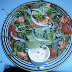 Fresh Food Basket Garden Salad topped with Herbed Shrimp @ EITS Cafe, Newcastle