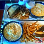 Lunch for both of us.  half sandwich, soup, and fries