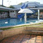 The swimming pool, in front of the hotel.