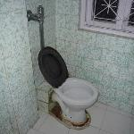 The toilet (we had to use a bucket to flush)