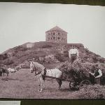 Old Photo of Men and Horses in Front of Skansen Kronen