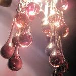 Beautiful Venetian glass lights in Rose Room