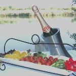 fruit platter & wine - dining on the riverbank