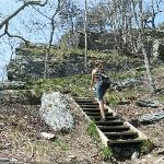 Climbing up to Hanging Rock Trail