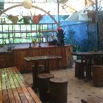 The bar in the outdoor dining area