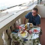 breakfast on the balcony overlooking the malecon
