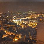 View over Lisbon from our room at night