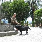 Consuelo Donoso de Villacreses with family dog