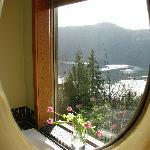  View from mirror over tub in window