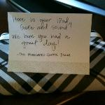 The lovely note from hotel staff regarding lost iPad.