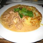 Veal with mushroom sauce and roesti. Delicious!