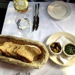 Whole wheat bread, mix of olives and fresh pesto