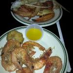 large shrimps and crab legs
