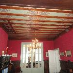 The old painted ceiling in the lounge