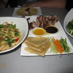 Noodles, Peking Duck Pancakes and Asian Green Vegetables