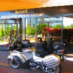An airport hotel on a motorcycle