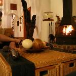  The cosy lounge with the roaring fire