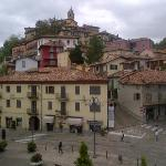 View from the hotel on to the town and main piazza