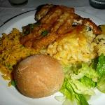 Fried Flying Fish, Chicken, Macaroni Pie, Salad, Rice, Potatoes.  Lots of delicious Caribbean fo