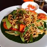 Spicy vegetable mie goreng for lunch at 66 Corner restaurant in Legian, Bali, Indonesia.