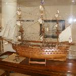 Model ship in hotel reception lobby